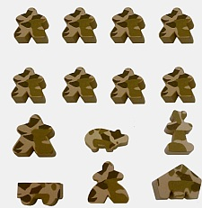 Carcassonne Desert Camo Meeples available from Board Game Extras