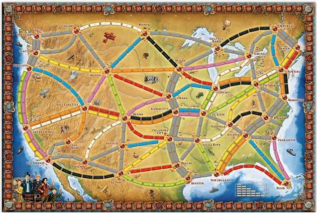 Ticket To Ride 10th Anniversary Board Game Map